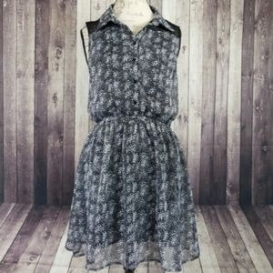 Lucca Couture abstract dot lace backed mini dress